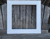 Square Frame, White Farmhouse Frame, Ornate, Custom Sizes, White,Shabby Chic,Wide Chunky Frame,Distressed,Wedding Frame,   (Los Angeles)