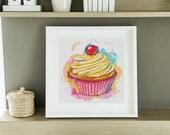 Kitchen Series: Yummy Cupcake MINI Cross Stitch Kit - Cross Stitch Pattern - Artistic Cross Stitch