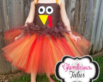 Turkey tutu dress with matching headband| Thanksgiving Tutu dress | Fall tutu dress| Newborn- child 8/10 size
