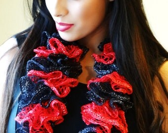 BEAUTIFUL BLACK RED Scarf, Ruffle Scarf, Knit Scarf, Winter Scarf, Red And Black Scarf