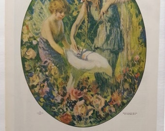 1917 Djer-Kiss ad made in France perfume from Ladies Home Journal magazine F. Luis Mora art fairies 10x16