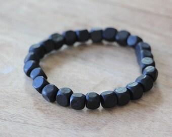 Men's Beaded Bracelet Band Black Square Wood Beads