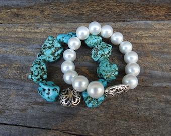 Bead Bracelet Stretch bracelet Pearl Bracelet Turquoise Bracelet