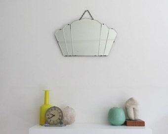Vintage Art Deco Fan Shape Mirror