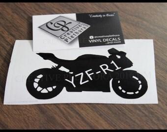 "Yamaha YZF-R1 Motorcycle decal 4.25"" x 2.5"" custom laptop window car motorcycle decal sticker"