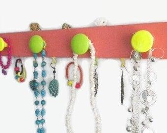 Colorful Nursery Organizer Kids Room Neon Jewelry Board 4 Fluorescent Knobs 7 Hooks Closet Organizer Gift Idea Teens