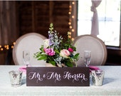 Mr and Mrs Table Signs Rustic Wedding Signs With Last Name - WS-161
