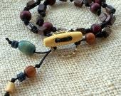 WOOD BEAD BRACELET, Natural Jewelry, Hand-Knotted Wood Bead Bracelet, Double Wrap Bohemian Tribal Bracelet