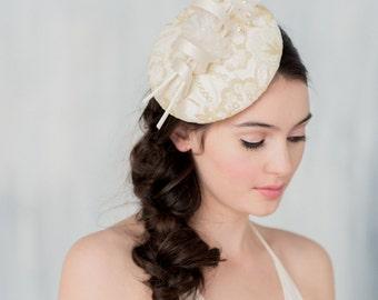 Gold Ivory Bridal Fascinator, Wedding Headpiece, Gold Fascinator, Ivory Fascinator, Gold Headpiece, Lace Headpiece, Bridal Headband, ANITA