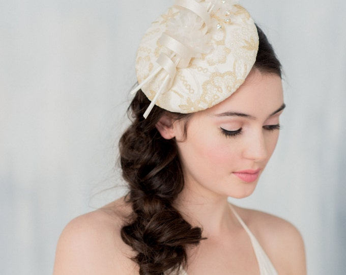 Gold Fascinator, Gold Bridal Hat, Lace Headpiece, Lace Fascinator, Silk Fascinator, Feather Headpiece, Wedding Headpiece, Gold Hat, ANITA