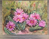 Vintage Pink Floral Wall Decor, Original Painting, Acrylic on Canvas