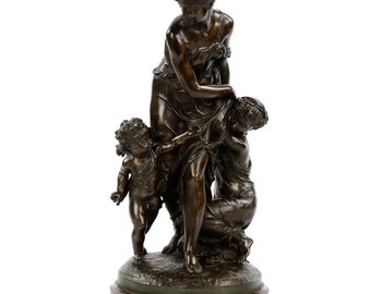"""Exceptional Tiffany & Co Bronze Sculpture of """"Hide and Seek"""" by Pierre Hebert, 19th Century"""