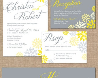 Gray and Yellow Floral Wedding Invitation Set // Modern Wedding Invitation // DIY Printable Wedding Invitation Set // Floral Wedding Invite