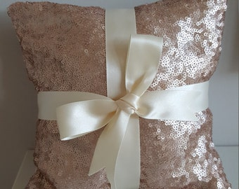 Ring Bearer Pillow for Weddings in Rose Gold Sequin and Ivory Satin Bow