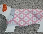 "Reversible Fleece Dog Coat for Mini Dachshund Doxie Chiweenie (xs, long 10-12 lb., 17"" girth) Soft pastel pink & gray polka dot"