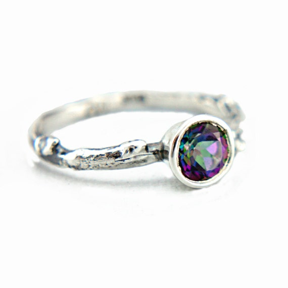 Mystic Topaz Twig Engagement Ring Sterling Silver Mystic Topaz