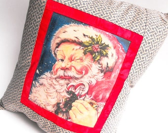 Santa Claus Christmas Pillow Candy Cane Kringle Jingle Bells Saint Nicholas Merry Holly Berry Home Decor Winter Yuletide Holiday Decoration