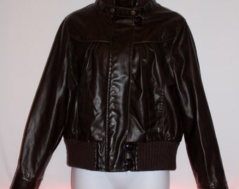 Moto Bomber Jacket by Charlotte Russe Crop Faux Leather Brown Sz L ZipUp~Knitted