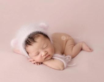 Bear bonnet Fluffy angora newborn bonnet knit newborn photo prop