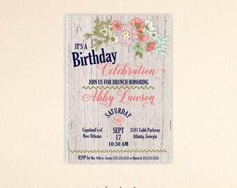 Adult Birthday Invitation, woman's, feminine, 30th, 40th, 45th, 50th, 60th, 65th, 70th, 75th, 80th, 90th, digital, printable invite, A7004