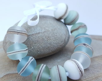 SEA GLASS bead set - Lampwork Glass beads, Jewelry, Jewellery, Green, Blue , White, Silver glass, Etched Beads, Bracelet & Earring Beads