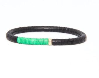 Beaded Bracelet in 14K Solid Yellow Gold - Beach Boho Stretch Cord - African Vinyl Beads Green & Black - Men Women Unisex Gift Him Her