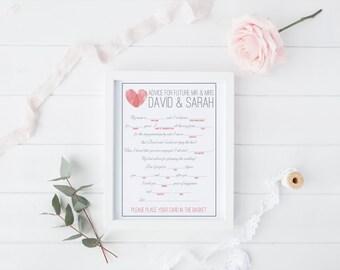 DIY Printable Engagement Mad Libs Keepsake Game - Wedding Advice - Modern Thumbprint Heart Monogram design