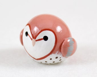 Chubby Barn Owl Totem - Polymer Clay Totem Animal Miniature - Polymer Clay Barn Owl - Owl Figurine - Spirit Animal Sculpture - Fat Bird