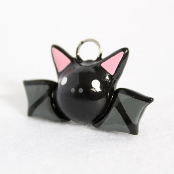 Black Bat Charm - Polymer Clay Charm - Polymer Clay Bat - Halloween Bat Charm - Bat Jewelry - Cell Phone Charm - Halloween Jewelry