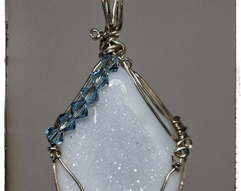 Beautiful light blue wire wrapped Druzy necklace