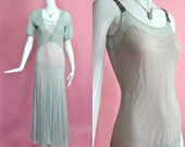 1930's Vintage Ice Blue Pale Pink Delicate Tulle Drop Waist with Matching Bolero Ballerina Dress Evening Gown