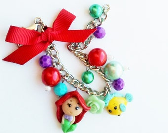 Ariel the little mermaid inspired  charm bracelet with her pet Flounder fish