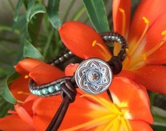 Turquoise Single Wrap Bracelet, Turquoise Bracelet