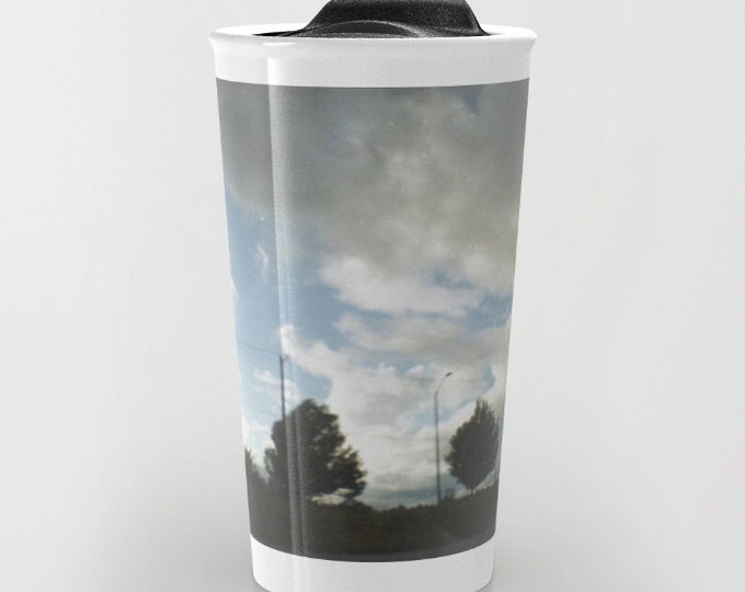 Travel Mug Ceramic - Landscape Travel Mug - Clouds and Trees - Hot or Cold Travel Mug - 12oz Travel Mug -Made to Order
