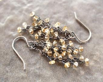 Sterling silver citrine earrings, drop earrings, citrine cluster earrings, rustic earrings, yellow gemstone, oxidized silver, wire wrapped,