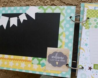 Baby Boy Scrapbook, Newborn, Baby Shower Gift, Ready to Finish Scrapbook, Mini Scrapbook