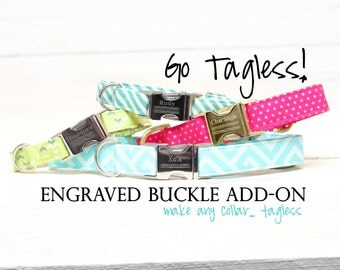 Personalized Dog Collar, Go Tagless! Add Engraved Name & Phone Number to Metal Buckle - Add-On Listing Only