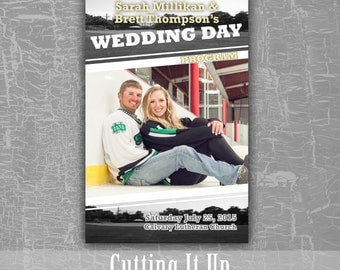 Hockey Wedding Program, Fun Wedding Programs, Sports Wedding, Football Wedding Program, Sports Wedding Program, Magazine Wedding Program