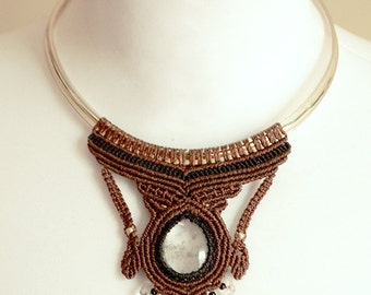 SALE (15%off) Dramatic stainless steel choker necklace with macrame and quartz pendant
