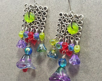 Czech & Japanese Glass Drop Floral Earrings Colorful fun Summer Party Gift