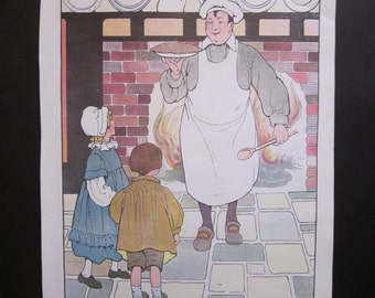 "Vintage ""Pat-A-Cake"" Mother Goose Print"