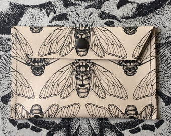 Screen Printed Cicada Leather Purse / Coin Purse / Wallet / Pouch - Cream