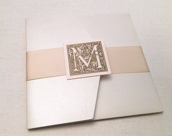 Baroque Wedding Invitation // Old World // Monogram // Vintage // Ornate // Scrolls // Filigree