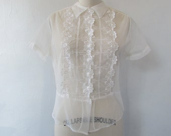 1950s blouse | vintage sheer blouse | white top | small - medium | The Abigail Top