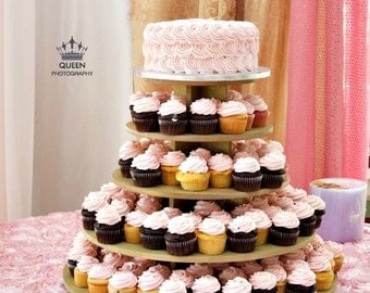Cupcake Stand Large Round 150 Cupcakes Threaded Rod And Freestanding Style MDF Wood Unpainted Tower