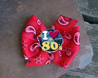 Ready to ship I LOVE 80s pinwheel boutique hair bow hair bow kids child hair clip on alligator clip