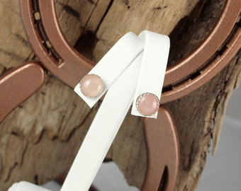 Sterling Silver Post Earrings - Natural Rose Quartz Stud Earrings  - Sterling Silver Studs with 10mm Natural Rose Quartz Stones
