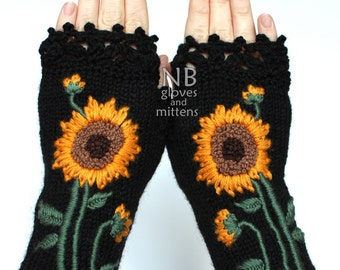 Knitted Fingerless Gloves, Sunflower, Black, Clothing And Accessories, Accessories,Gloves & Mittens, Gift Ideas