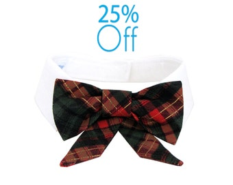 On Sale! Dog/Cat tartan bow on a shirt style collar