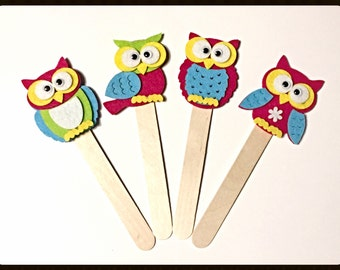 "Bookmark ""VERNAL OWL"" - Handmade Bookmarks, Owls, Felt Creatios, Wood, Gift Idea, Favor, Favors"